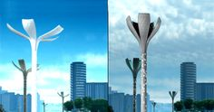 With City Light, Philips hopes to create intelligent outdoor lighting for cities that is also sustainable. The City Light resembles a tall flower as the petals change shape to capture sun and wind energy. LED lights illuminate the stalk at night to provide the right amount of light at the right time–the City Light senses when no one is around and turns off.