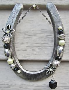 Horseshoe decorated with beads by Grandmajosworkshop on Etsy