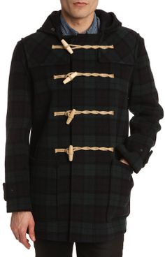 Mid Grey Duffle Coat With Chevron Patterning | Coats, Shops and ...