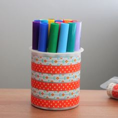 How to decorate a marker holder using washi tape