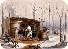 Cornelius Krieghoff Sugar Making in Canada, painting Authorized official website Easy Painting Projects, Sugar Bush, Fur Trade, Religion, Historical Art, Historical Illustrations, Canadian History, Cornelius, Red River