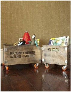 Wine crate storage for toys and books on wheels