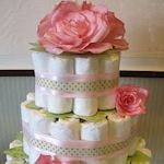 Baby Shower Center Piece - diaper & baby gifts cake