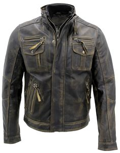 a024f88fabb5 Mens Biker Motorcycle Vintage Distressed Terminator Black Real Leather  Jacket  JacketsHub  Motorcycle Tan Leather