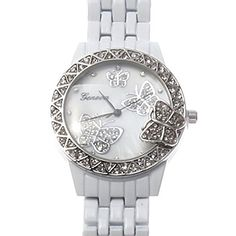 White Enamel Geneva Rhinestone Crystal Butterfly Mother of Pearl Watch Rolex Watches, Wrist Watches, White Enamel, Geneva, Michael Kors Watch, Crystal Rhinestone, Butterfly, Pearls, Crystals