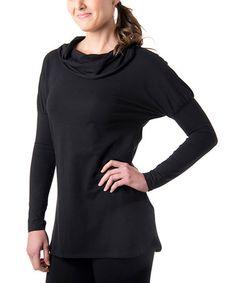 Look at this #zulilyfind! Black Cozy Organic Cotton-Blend Cowl Sweatshirt #zulilyfinds