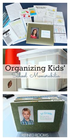 A Simple System for Organizing Kids' School Papers and Memorabilia Got school paper clutter? Learn how to set up a simple system for managing kids' school memorabilia and make it easy for you and your child to enjoy these precious memories! Kids School Organization, Organization Hacks, Organizing School Papers, Organizing Paper Clutter, Organizing Kids Toys, Paperwork Organization, Organizing Tips, Bathroom Organization, School Memories