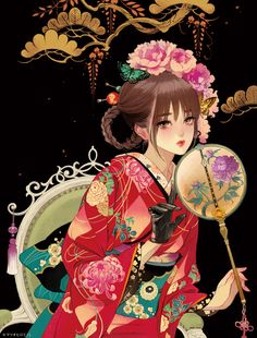 Anime, manga, and video game fan-art artworks from Pixiv (ピクシブ) — a Japanese online community for artists. Anime Kimono, Kimono Animé, Girls Anime, Anime Art Girl, Manga Art, Geisha Kunst, Geisha Art, Geisha Anime, Anime Japan