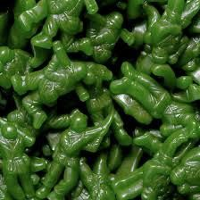 Attention! Gummi Army Green Soldiers Whether you're a young boy or a real soldier, Gummi Army Green Soldiers are the perfect guy's candy. Of course, they are army-green in color, molded to look like r