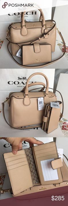 Coach Purse Wallet❤️ Authentic Coach Purse and wallet, both brand new with tag! So beautiful Set. Coach Bags Crossbody Bags