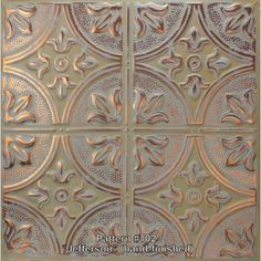 """6"""" x 6"""" Metal Ceiling Tile Color Samples ----- (Free Shipping!) Drops Patterns, Tile Patterns, Serena And Lily Wallpaper, Copper Ceiling Tiles, Ceiling Grid, Pressed Tin, Coin Design, Tin Tiles, Metal Tins"""