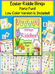 Easter Bingo for 1-28 players! My best selling bingo game is back for Spring in an exciting new Easter version. Guess the riddles and increase listening comprehension; identify rhymes and learn Easter vocabulary. Looking for an Easter party activity? This is your easy to prep answer your kids will love! This pack is perfect for speech therapy, small group, RTi intervention or a whole class activity! From Speech Sprouts #spring #education #game
