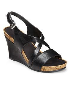 Look what I found on #zulily! Black Plushed Together Wedge Sandal #zulilyfinds