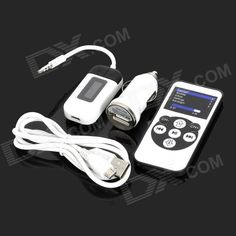 Car Hands-Free FM Transmitter & Remote Control for Iphone / Ipod / Samsung - White
