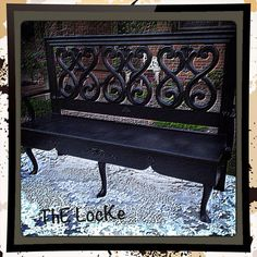 Repurposed Bench...ThE TraiN by ThELocKe on Etsy, $200.00 Foyer Bench, Bench Decor, Antique Bench, Vintage Bench, Black Bench, Refurbished Furniture, Cottage Chic, Outdoor Furniture, Outdoor Decor