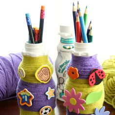 Make the most out of those milk bottles you're packing in your child's lunch by reusing them as pencil holders to stay organized this school year.