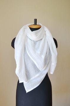 White scarf Wedding shawl wife giftIforIher Bridal shawl White shawl Cotton scarf romantic gifts summer scarf fashion scarf birthday gifts by DinaStyleKnits on Etsy