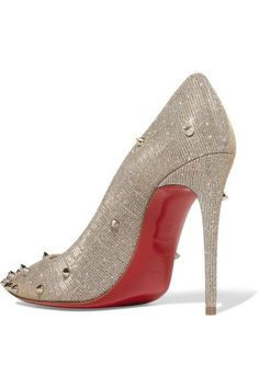 Christian Louboutin - Degraspike 100 Spiked Canvas Pumps - Silver - IT39.5