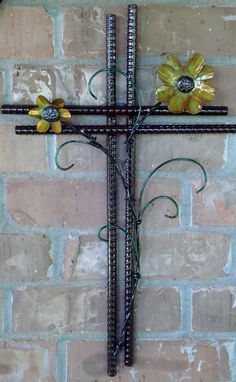 Hand Crafted Metal Wall Cross with Scroll Work & Flowers
