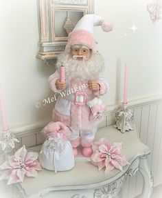 Beautiful white with pink trim Shabby Chic Santa Claus <3