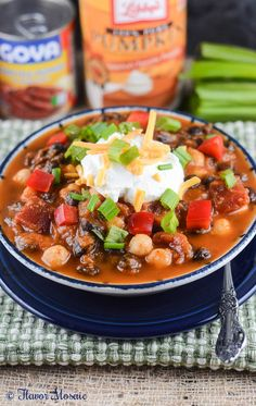This smoky, spicy Pumpkin Chipotle Vegetarian Chili recipe makes a delicious, hearty, and budget-friendly fall or autumn one-dish meal that is perfect for tailgating or game day.  @officialpumpkin @goyafoods