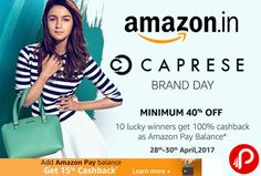 Amazon #CapreseBrandDay is offering Minimum 40% off on Caprese Handbags, Wallets, Totes, Clutches, Sling Bags, Messenger Bags, Satchels, Hobos Categories.  http://www.paisebachaoindia.com/caprese-brand-day-minimum-40-off-amazon/