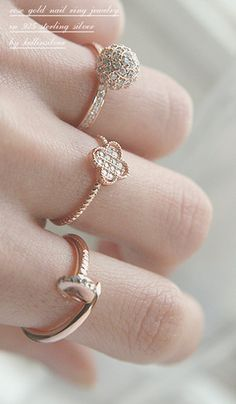 Rose Gold Nail Wrap Ring - the round one is the prettiest!