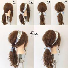 簡単スカーフポニー 1、サイドの髪の毛を残してポニーテールをつくります! 2、分けたところにスカーフを巻きつけ軽く結びます! 3、サイドの髪をポニーテールの結び目のところでくるりんぱして、スカーフをしっかり結びます! 4、全体的に崩して完成です(^^) Hair With Headband, Hair With Bandana, Hair Styles With Bandanas, Hairstyles With Headbands, Bandana Scarf, Ponytail Hairstyles Tutorial, Hairstyle Tutorials, Hair Updo, Work Hairstyles
