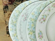 Mismatched China Salad Plates by LittleDixieVintage on Etsy