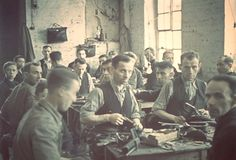 Lodz, Poland, A shoemaking workshop in the ghetto