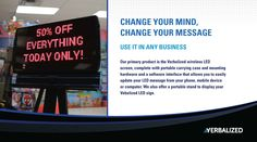 Our primary product is the Verbalized wireless LED screen, complete with portable carrying case and mounting hardware and a software interface that allows you to easily update your LED message from your phone, mobile device or computer. We also offer a portable stand to display your Vebalized LED sign. #edmonton #kickstarter #marketing #directmarketing #technology Message Board, Your Message, Change Your Mind, Led Signs, You Changed, Software, Hardware, Display, Messages