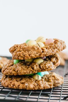 Small Batch Mini Egg Oatmeal Cookies are all about indulging in the Easter festivities while not having a huge batch afterward! #bakingfortwo #smallbatchbaking #smallbatch #baking #easter #easterdesserts #minieggs - thebeaderchef.com