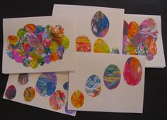Shaving Cream Marbled Easter Egg Cards from The Chocolate Muffin Tree