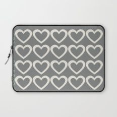 Cute Hearts Pattern Grey Laptop Sleeve