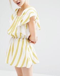 Image 3 of I Love Friday Dress With Ruffle Sleeves In Summer Stripe