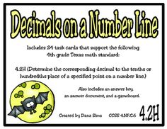 Includes 24 task cards that support the following 4th grade Texas math standard:4.2H (Determine the corresponding decimal to the tenths or hundredths place of a specified point on a number line.)Also includes an answer key, an answer document, and a gameboard.