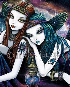 Seraphina Celestial Ethereal Nebula Fairy Angel Signed Fine Gothic Fantasy Art, Gothic Fairy, Dark Art Drawings, Fantasy Drawings, Doodle Drawings, Steampunk, Fairy Pictures, Fairy Figurines, Beautiful Fairies