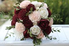 fall bridal bouquets This listing features a bouquet featuring sola flowers in burgundy/maroon and blush pink and ivory. It is accented with s Burgundy And Blush Wedding, Maroon Wedding, Floral Wedding, Fall Wedding, Blush Pink, Wedding Ideas, Wedding Themes, Dream Wedding, Wedding Blush