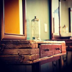 Rustic Bohemian Vanity TABLE Salon station Boho Repurpose by WeHaveAGreatNotion | Etsy