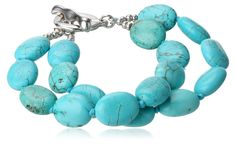 Sterling Silver Simulated Turquoise Double Strand Bracelet, 7.5' ** Read more @ http://www.amazon.com/gp/product/B007VXD0DI/?tag=jewelry163-20&puv=220716065118