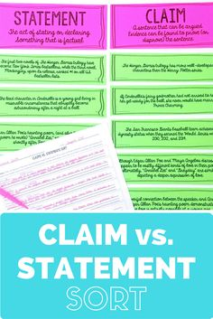 This claims vs. statements sorting activity is such a fun and challenging way to help your students understand what a claim (or thesis statement) REALLY is. Your students will better understand this concept, think critically, and be prepared to write argumentative essays with this writing activity! (Great for middle school and high school students!)