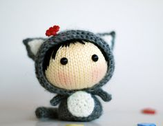Gray Girl-Cat  pdf knitting pattern van deniza17 op Etsy