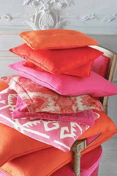 Pink and Orange pillows ~ Manuel Canovas collection.