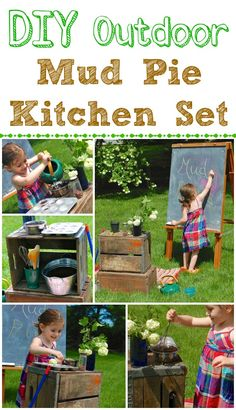 Mud Pie Kitchen DIY Outdoor Mud Pie Kitchen Set -- hours of pretend play fun!DIY Outdoor Mud Pie Kitchen Set -- hours of pretend play fun! Kids Outdoor Play, Outdoor Play Spaces, Outdoor Learning, Outdoor Fun, Outdoor Kitchens, Reggio, Mud Kitchen, Natural Playground, Outdoor Classroom