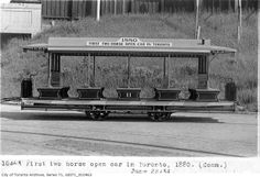 Toronto's Historic Transportation Vehicles- The first two horse open car Toronto, 1880 Two Horses, Guernica, First Second, The Shining, Car Ins, 19th Century, Toronto, Transportation, Past