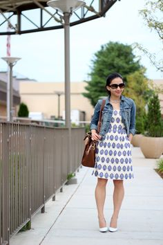 Summer Dress and Denim Jacket. Swap the white shoes for red flats or sandals.