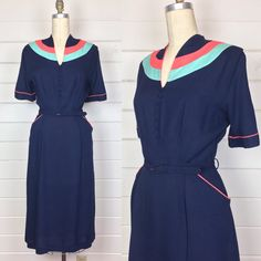 Vintage 1940s Navy Blue Linen Colorblock Day Dress / Matching Belt / Coral & Turquoise / Size L