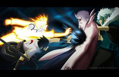 Naruto Manga 641 Naruto and Sasuke vs Obito by ChekoAguilar on DeviantArt