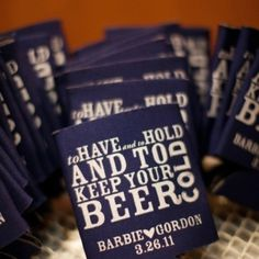 Coozies for wedding favors