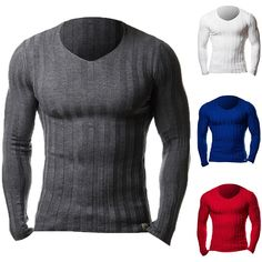 Men Crew Neck Slim Fit Muscle Knit Jumper Pullover Sweater T Shirts Tops